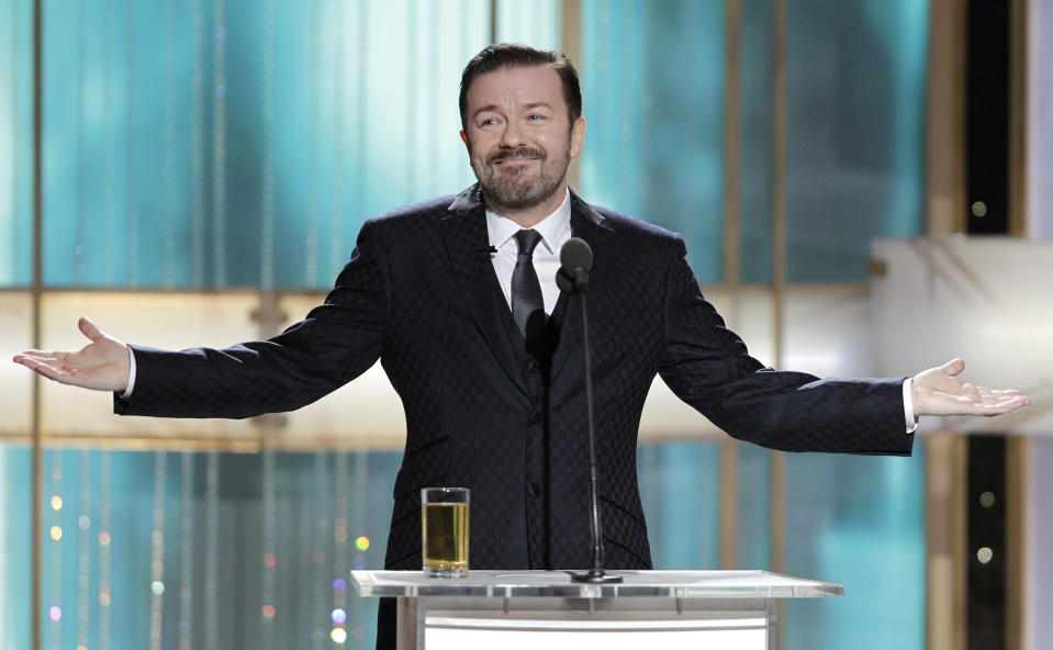 Gervais also caused a stir while hosting the 68th Annual Golden Globe Awards in 2011. (Photo: Paul Drinkwater/NBC/NBCU Photo Bank)