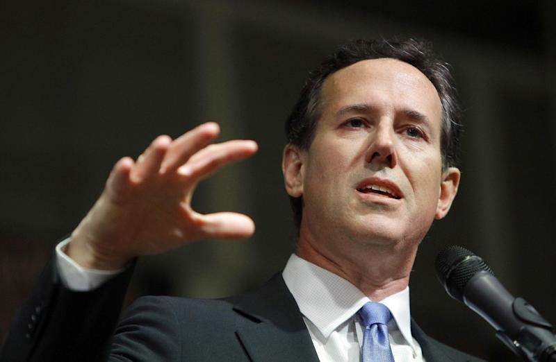 Republican presidential candidate, former Pennsylvania Sen. Rick Santorum speaks at his election night party at Steubenville High School, Tuesday, March 6, 2012, in Steubenville, Ohio.  (AP Photo/Eric Gay)