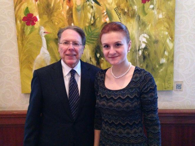 Convicted Russian agent Maria Butina is seen with NRAexecutive vice president Wayne LaPierre in 2014. The NRA remains under a cloud of scrutiny stemming from a set of still-developing scandals. (Photo: Facebook)