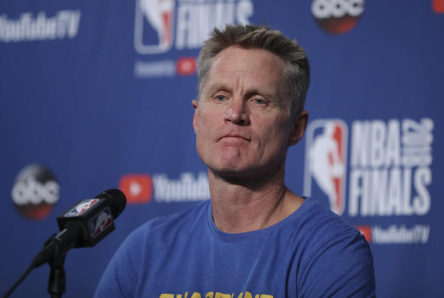 "Steve Kerr pointed out how often the <a class=""link rapid-noclick-resp"" href=""/nba/teams/gsw"" data-ylk=""slk:Warriors"">Warriors</a> hold a moment of silence before a game. (AP Photo/Carlos Osorio)"