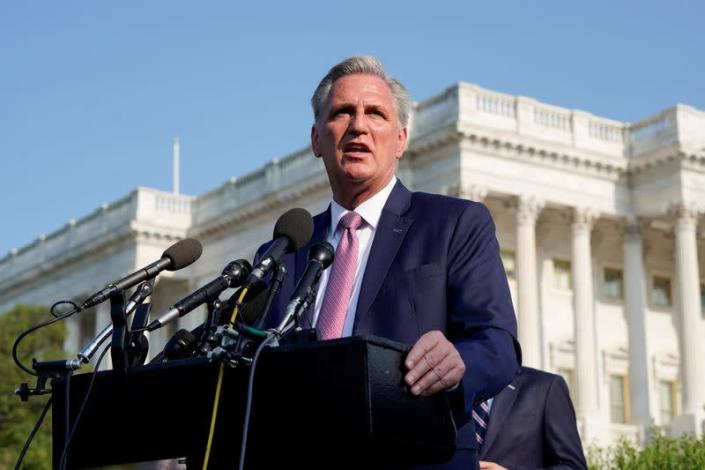 FILE PHOTO: House Minority Leader Kevin McCarthy (R-CA) speaks before a hearing on the January 6th attack on Capitol Hill in Washington