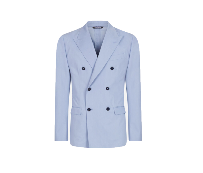 """<p>This elegant suit by Dolce & Gabbana is ideal if you're having a formal Father's Day garden party.</p><p>Double-breasted suit in cotton and silk, £2,350, Dolce & Gabbana</p><p><a class=""""body-btn-link"""" href=""""https://go.redirectingat.com?id=127X1599956&url=https%3A%2F%2Fwww.dolcegabbana.com%2Fen%2Fmen%2Fclothing%2Fsuits%2Fdouble-breasted-taormina-suit-in-cotton-and-silk-light-blue-GKO9ETFU5SZB1932.html&sref=https%3A%2F%2Fwww.townandcountrymag.com%2Fuk%2Fstyle%2Ffashion%2Fg32768324%2Fwhat-to-wear-fathers-day%2F"""" target=""""_blank"""">SHOP NOW</a></p>"""