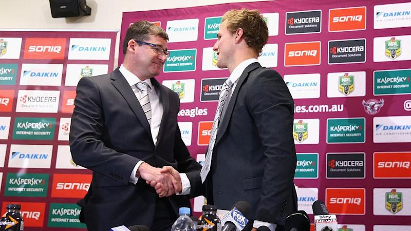 Kelly (L) with Manly captain Daly Cherry-Evans. Pic: Getty