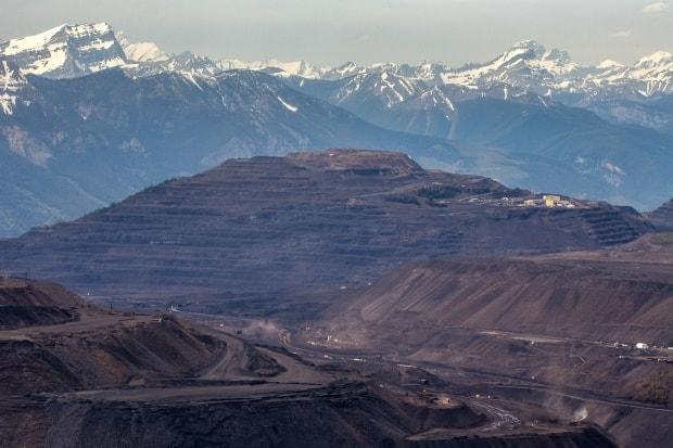 The Teck Elkford Operations open-pit coal mine in southeastern British Columbia, as seen from Mount Erickson.