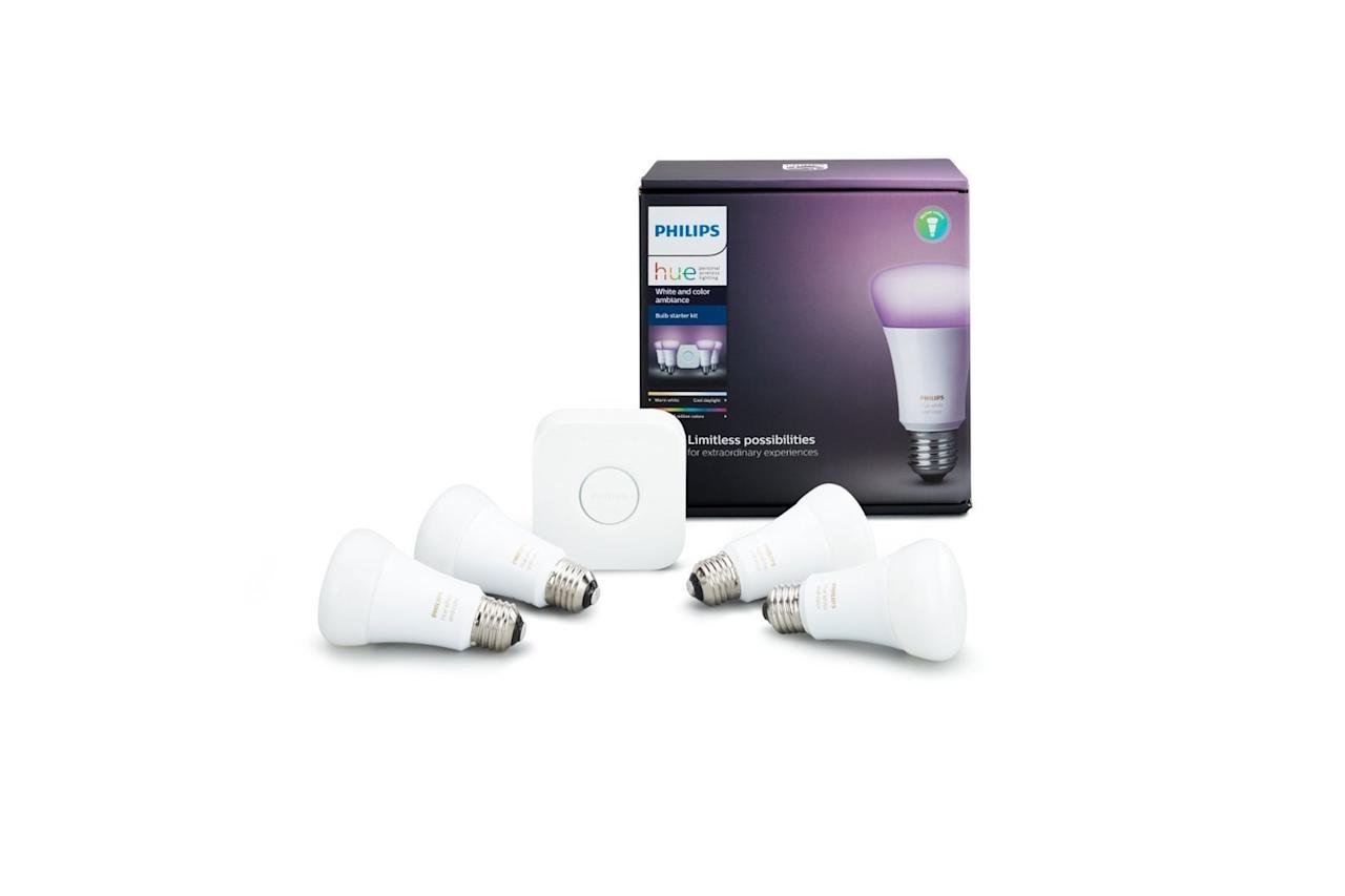 "$190, Best Buy. <a href=""https://www.bestbuy.com/site/philips-hue-white-color-ambiance-led-starter-kit-white/6370363.p?skuId=6370363"">Get it now!</a>"