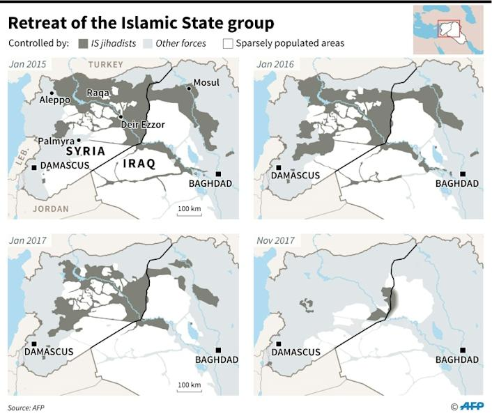 Maps of Syria and Iraq showing changes in the territory controlled by the Islamic State group since 2015