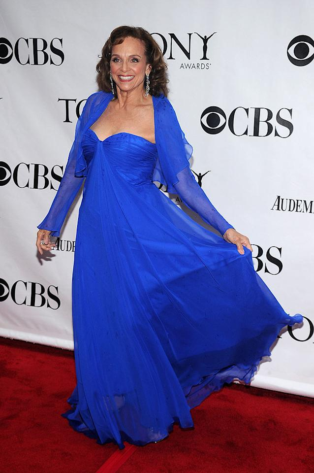 "Valerie Harper, nominated for Best Performance by a Leading Actress in a Play (""Looped""), forced a smile despite donning one of the chintziest chiffon gowns we've ever seen. Bryan Bedder/<a href=""http://www.gettyimages.com/"" target=""new"">GettyImages.com</a> - June 13, 2010"