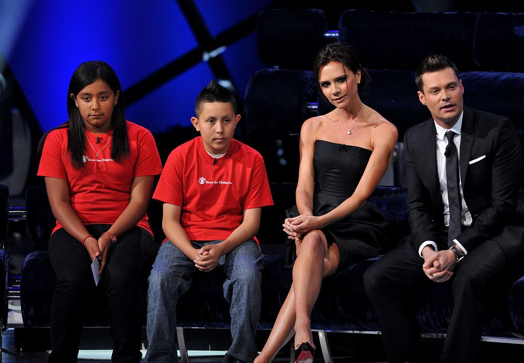 "Victoria Beckham and Ryan Seacrest on <a href=""/american-idol/show/34934"">""Idol Gives Back.""</a>"