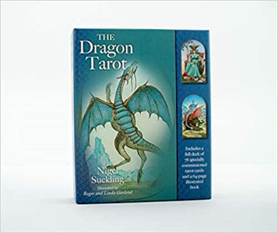 "<h2>The Dragon Tarot Deck</h2><br>Mysticalcraft Arriana says that this deck is the first that ""called her,"" due to her love of dragons and the fact that she was born in the Year of the Dragon. ""It's a fun deck to me as it brings me <a href=""https://www.refinery29.com/en-us/crystals-for-anxiety"" rel=""nofollow noopener"" target=""_blank"" data-ylk=""slk:calm energy"" class=""link rapid-noclick-resp"">calm energy</a>. Dragon Tarot is my go-to deck,"" she says. ""I always make sure I have a spare one in case of an emergency!""<br><br><strong>AffordableBooks</strong> The Dragon Tarot, $, available at <a href=""https://go.skimresources.com/?id=30283X879131&url=https%3A%2F%2Fwww.etsy.com%2Flisting%2F895466441%2Fthe-dragon-tarot-includes-a-full-deck-of"" rel=""nofollow noopener"" target=""_blank"" data-ylk=""slk:Etsy"" class=""link rapid-noclick-resp"">Etsy</a>"