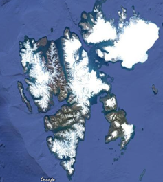 Satellite map of mountainous islands largely covered in ice.