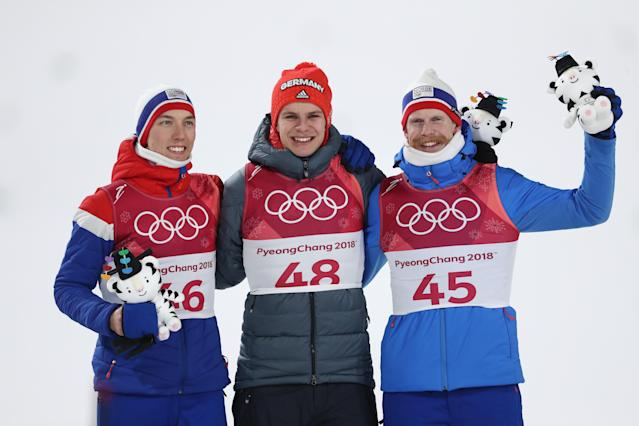<p>Andreas Wellinger (center) of Germany won gold in the men's Normal Hill Ski Jumping Final. Andre Forfang of Norway (left) won the silver while gold medalist while Norwegian teammate Robert Johansson brought home bronze. </p>