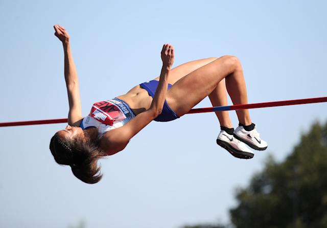Morgan Lake in action during the women's high jump