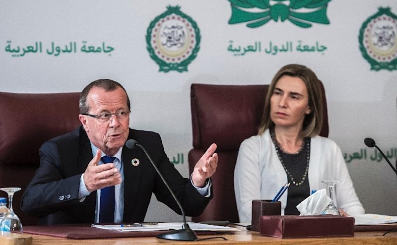 UN envoy Martin Kobler and EU foreign policy chief Federica Mogherini pledge their support to Libya's unity government during talks at the Arab League headquarters in Cairo, on March 18, 2017