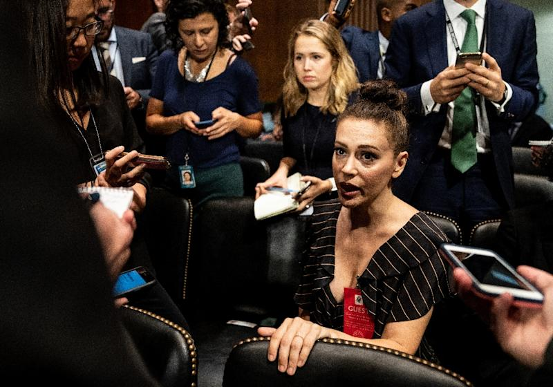 Actress Alyssa Milano glares at Supreme Court nominee Brett Kavanaugh throughout hearing
