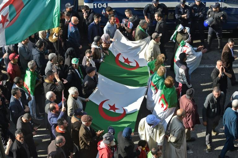 Algerian anti-government protesters have continued marching weekly for nearly a year -- despite ending the 20 year rule of President Abdelaziz Bouteflika (AFP Photo/RYAD KRAMDI                        )