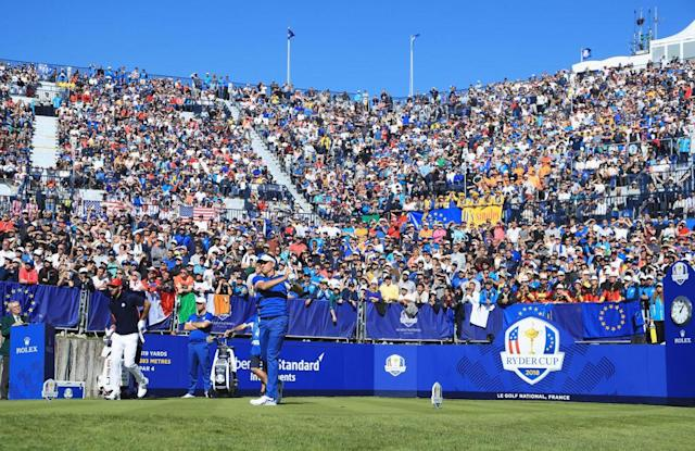The Ryder Cup singles matches played out in front of huge crowds. (Getty)
