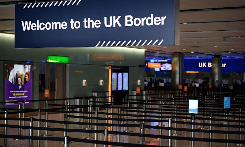 Passport control in the arrivals hall of Terminal 2 at Heathrow airport.
