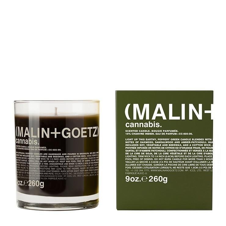 """<h2>(Malin + Goetz) Cannabis Candle</h2><br>Your favorite face and body care brand also makes candles; like this one that smells like oakmoss, sandalwood, amber, and patchouli with notes of lemon and orange.<br><br><em>Shop</em> <strong><em><a href=""""https://www.malinandgoetz.com/"""" rel=""""nofollow noopener"""" target=""""_blank"""" data-ylk=""""slk:(Malin + Goetz)"""" class=""""link rapid-noclick-resp"""">(Malin + Goetz)</a></em></strong><br><br><strong>(Malin + Goetz)</strong> cannabis candle., $, available at <a href=""""https://go.skimresources.com/?id=30283X879131&url=https%3A%2F%2Fwww.malinandgoetz.com%2Fcannabis-candle-9oz-e260g%3Fgclid%3DEAIaIQobChMI4ZOhvuXI4QIVyQOGCh0mYgK4EAQYASABEgIqePD_BwE"""" rel=""""nofollow noopener"""" target=""""_blank"""" data-ylk=""""slk:(Malin + Goetz)"""" class=""""link rapid-noclick-resp"""">(Malin + Goetz)</a>"""