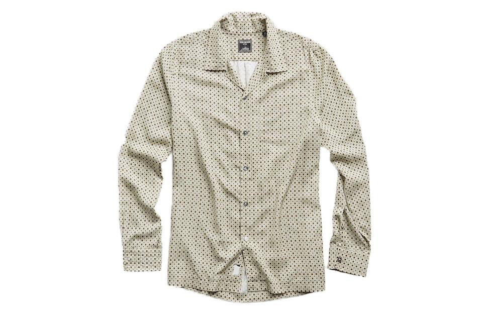 "$228, Todd Snyder. <a href=""https://www.toddsnyder.com/collections/sale/products/camp-collar-tile-ls-shirt-cream"" rel=""nofollow noopener"" target=""_blank"" data-ylk=""slk:Get it now!"" class=""link rapid-noclick-resp"">Get it now!</a>"