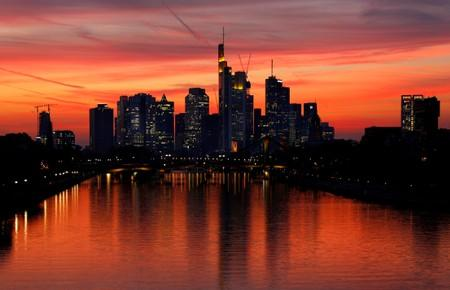The skyline with its financial district is photographed early evening in Frankfurt