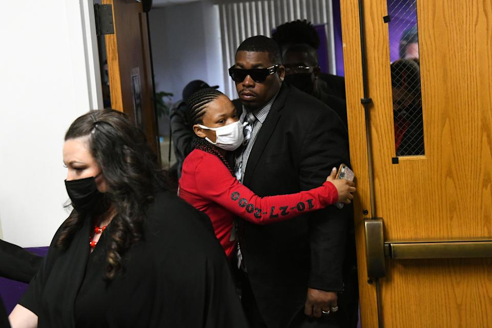 <p>MINNEAPOLIS, MINNESOTA - APRIL 22: Father Aubrey Wright and sister Diamond Wright arrive for a funeral held for Daunte Wright at Shiloh Temple International Ministries on April 22, 2021 in Minneapolis, Minnesota. Daunte Wright was shot and killed by police during a traffic stop in Brooklyn Center, Minnesota on April 11 which sparked days of protests. </p> ((Photo by Stephen Maturen/Getty Images))