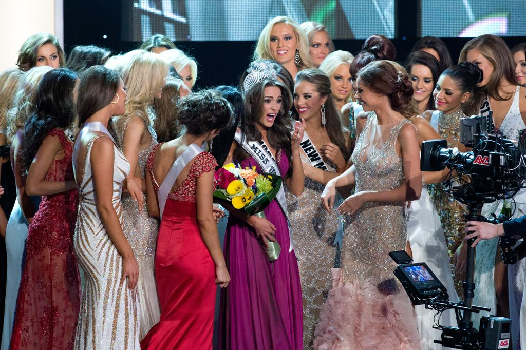 Miss Rhode Island USA 2012, Olivia Culpo, is crowned the winner of the 2012 MISS USA Competition. She celebrates on stage after the crowning, which was broadcast LIVE on NBC from the Planet Hollywood Resort & Casino Theatre for the Performing Arts, in Las Vegas, Nevada on Sunday, June 3, 2012.