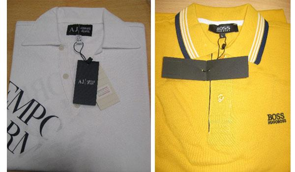 Giorgio Armani and Hugo Boss polo shirts included in the boxes of counterfeit goods.