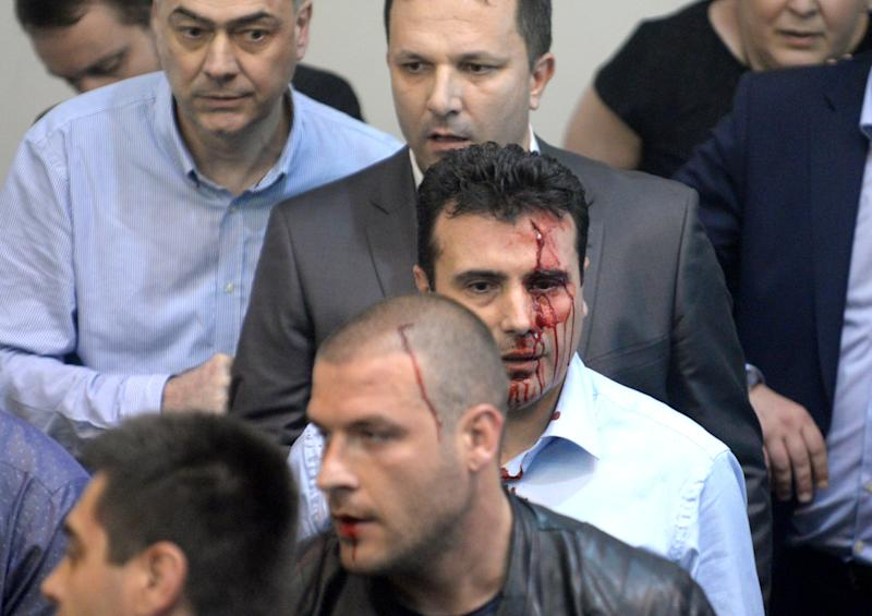 Social Democratic Leader Zoran Zaev Attacked as Protesters Storm Macedonia Parliament