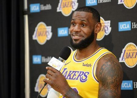 September 24, 2018; El Segundo, CA, USA; Los Angeles Lakers forward LeBron James (23) during media day at UCLA Health Training Center. Mandatory Credit: Gary A. Vasquez-USA TODAY Sports
