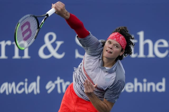 Milos Raonic, pictured, awaits Andy Murray