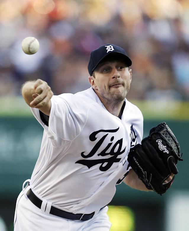 Detroit Tigers starting pitcher Max Scherzer throws during the first inning of a baseball game against the Chicago White Sox in Detroit, Saturday, Aug. 3, 2013. (AP Photo/Carlos Osorio)