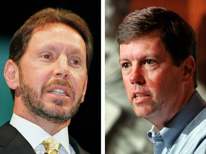 Oracle Corp. Chief Executive Larry Ellison (L) and Sun Microsystems Inc., Chief Executive Scott McNealy.