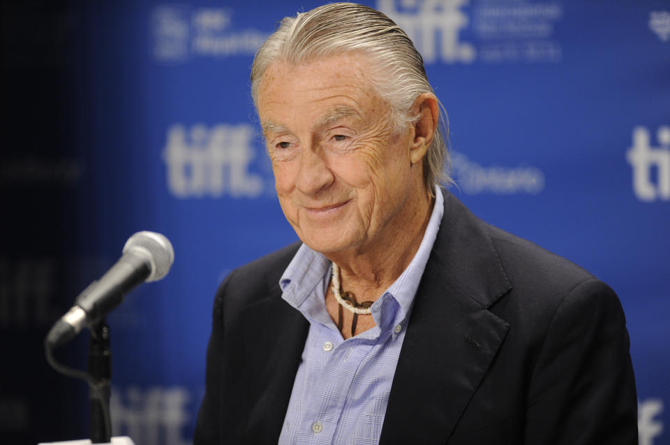 """Director Joel Schumacher participates in a press conference for the film """"Trespass"""" during the Toronto International Film Festival on Wednesday, Sept. 14, 2011 in Toronto. (AP Photo/Evan Agostini)"""