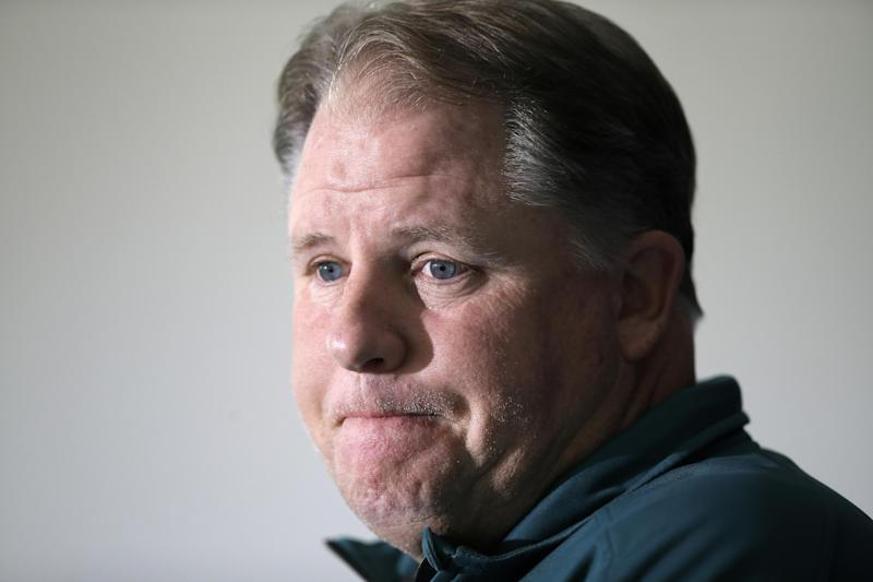 Philadelphia Eagles head coach Chip Kelly listens to a reporter's question during a news conference at the NFL football team's practice facility, Monday, Sept. 30, 2013, in Philadelphia. (AP Photo/Matt Slocum)