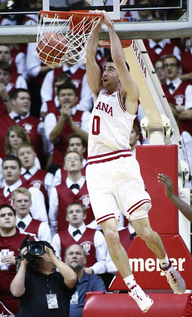 Indiana guard Will Sheehey dunks the basketball in the first half of an NCAA basketball game against Wisconsin in Bloomington, Ind. Tuesday, Jan. 14, 2014. Indiana won 75-72. (AP Photo/R Brent Smith)