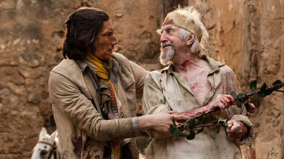 Adam Driver and Jonathan Pryce in 'The Man Who Killed Don Quixote'. (Credit: Sparky Pictures)