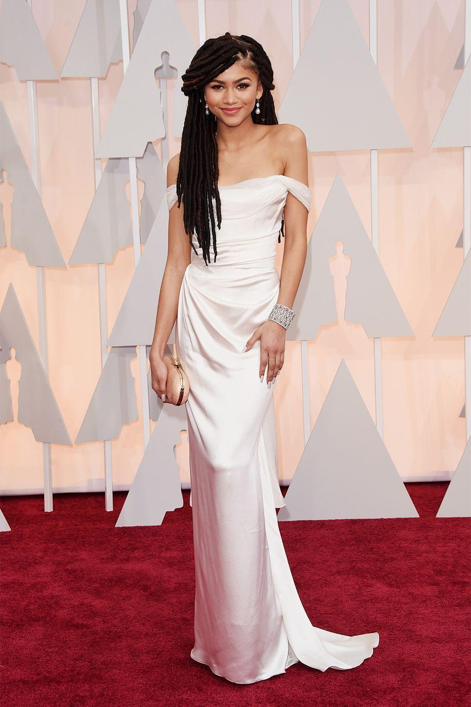 <p>While Zendaya's Oscars debut in this gorgeous Vivienne Westwood number became a little overshadowed when a fashion critic made a racially-insensitive comment about her hair— the young starlet took the opportunity to stand up for herself, and those who are on the receiving end of racist remarks. </p>
