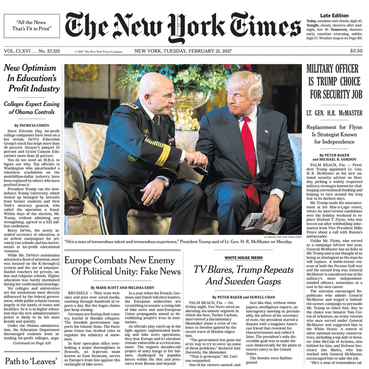The front page of Tuesday's New York Times. (NYT)