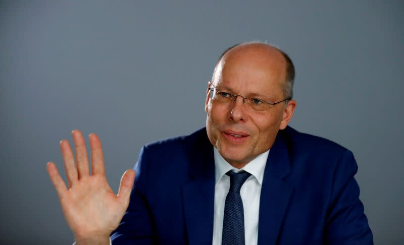 FILE PHOTO: Peter Beyer, Coordinator of Transatlantic Cooperation in the Field of Intersocietal Relations, Cultural and Information Policy for the German government speaks during an interview with Reuters in Berlin