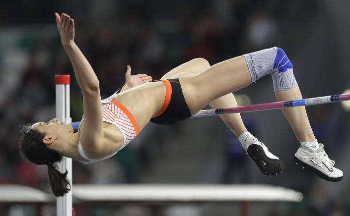 FILE - In this Sept. 10, 2019, file photo, Mariya Lasitskene competes in the women's high jump final during the Match Europe against USA athletics competition on the Dinamo stadium in Minsk, Belarus. Three-time high jump world champion Lasitskene will be a favorite at the upcoming Tokyo Games after Russia named her to its 10-athlete team under rules limiting the size of its squad because of a long-running doping dispute. (AP Photo/Sergei Grits, File)