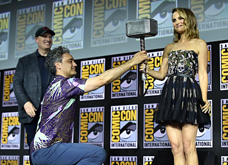 SAN DIEGO, CALIFORNIA - JULY 20: (L-R) President of Marvel Studios Kevin Feige, Director Taika Waititi and Natalie Portman of Marvel Studios' 'Thor: Love and Thunder' at the San Diego Comic-Con International 2019 Marvel Studios Panel in Hall H on July 20, 2019 in San Diego, California. (Photo by Alberto E. Rodriguez/Getty Images for Disney)