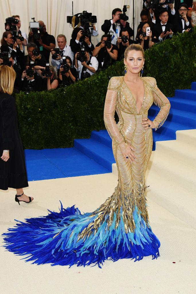 <p>Blake's feathery Atelier Versace creation worn to the 2017 Met Gala is definitely one of her best yet.<br><i>[Photo: Getty]</i> </p>