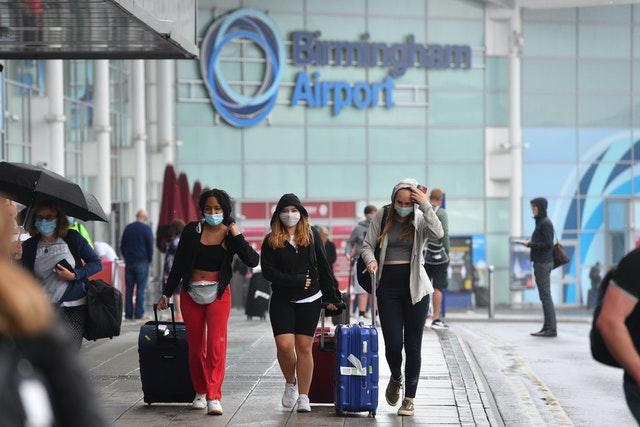 Passengers arriving at Birmingham Airport after new quarantine guidance was issued