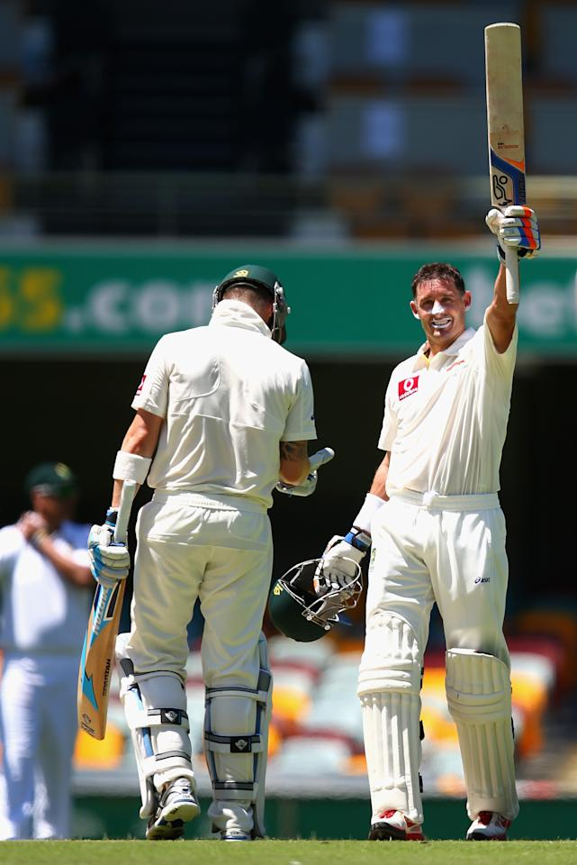 BRISBANE, AUSTRALIA - NOVEMBER 13: Michael Hussey of Australia celebrates after reaching his century during day five of the First Test match between Australia and South Africa at The Gabba on November 13, 2012 in Brisbane, Australia.  (Photo by Ryan Pierse/Getty Images)