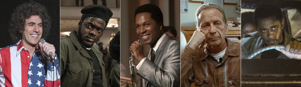 """This combination photo shows Oscar nominees for best supporting actor, from left, Sacha Baron Cohen in """"The Trial of the Chicago 7,"""" Daniel Kaluuya in """"Judas and the Black Messiah,"""" Leslie Odom Jr. in """"One Night in Miami,"""" Paul Raci in """"Sound of Metal"""" and Lakeith Stanfield in """"Judas and the Black Messiah."""" (Netflix/Warner Bros./Amazon Studios/Amazon Studios/Warner Bros. via AP)"""