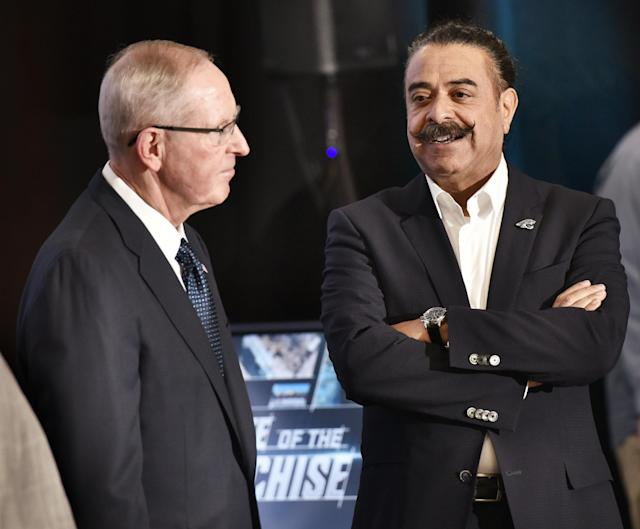 """Jacksonville Jaguars owner Shad Khan, right, said President Donald Trump's attacks on the NFL are """"a very personal issue"""" with Trump. (AP)"""
