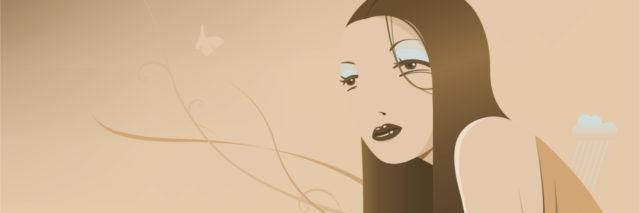 beige illustration of a woman with long hair looking off into the distance and thinking