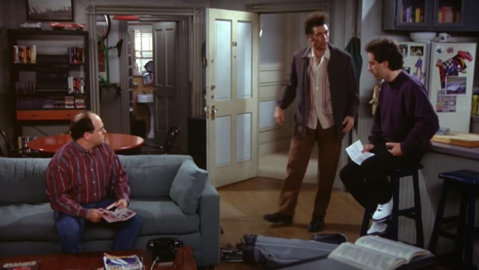 Jerry, George, and Kramer inside Jerry's apartment on Seinfeld