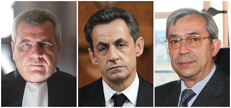 Ex-French president Nicolas Sarkozy (centre) is accused of conspiring with his lawyer Thierry Herzog (left) to give a judge Gilbert Azibert a lucrative job in exchange for inside information on another corruption probe related to campaign financing (AFP Photo/)