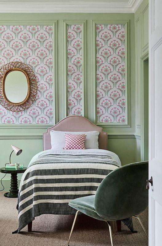 """<p>If you're lucky enough to have a home with wall panelling, using wallpaper within the recesses is very effective at drawing the eye, and making the most of an already beautiful home feature. Choose a playful pattern like the Hencroft wallpaper shown here, that picks up the surrounding chalky greens and pretty pinks.</p><p>Pictured: <a href=""""https://www.littlegreene.com/catalog/product/view/id/41525/s/hencroft-pink-primula/category/43/"""" rel=""""nofollow noopener"""" target=""""_blank"""" data-ylk=""""slk:Hencroft Pink Primula"""" class=""""link rapid-noclick-resp"""">Hencroft Pink Primula</a>, Little Greene</p>"""